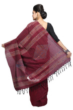 Brown Cotton Handloom With Hand-Stitched Khesh - Saree