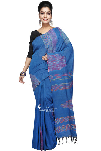 Blue Cotton Handloom With Hand-Stitched Khesh - Saree