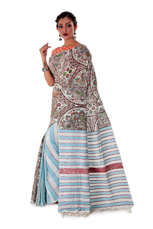 White-base-Madhubani-Cotton-Designer-Saree-SNHK1301-3