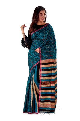 Green-base-Madhubani-Cotton-Designer-Saree-SNHK1302-1