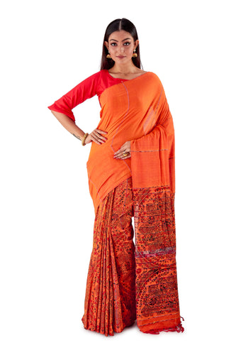 Orange-Madhubani-Cotton-Designer-Saree-SNHK1401-1