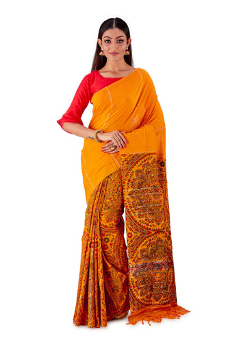 Peachy-Orange-Madhubani-Cotton-Designer-Saree-SNHK1402-1