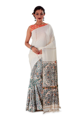 Grey-Madhubani-Cotton-Designer-Saree-SNHK1404-1