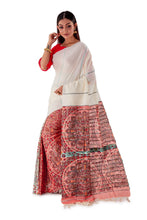 White-&-Red-Madhubani-Cotton-Designer-Saree-SNHK1405-3