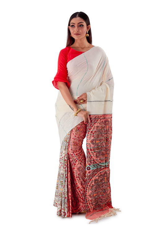 White-&-Red-Madhubani-Cotton-Designer-Saree-SNHK1405-1