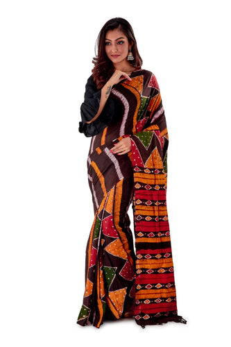 Multi-coloured-Batik-Cotton-Designer-Saree-SNHK1501-1