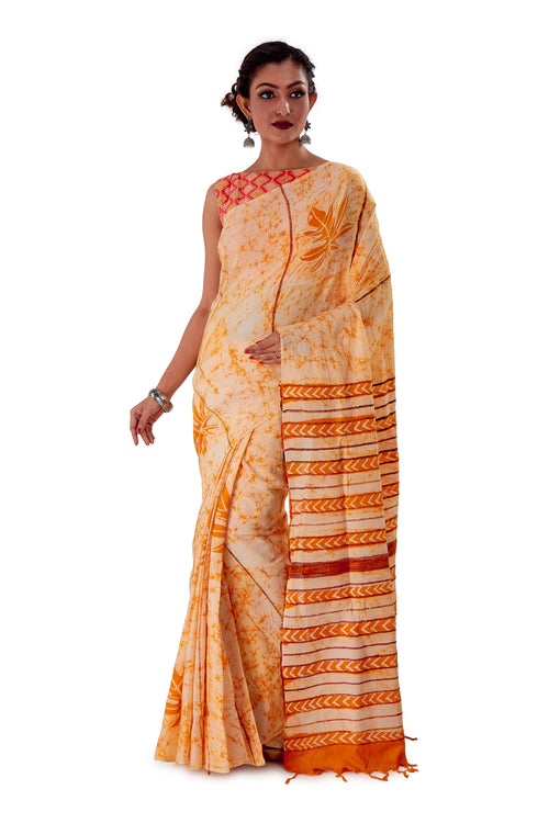 Off-white-base-Batik-Cotton-Designer-Saree-SNHK1502-2
