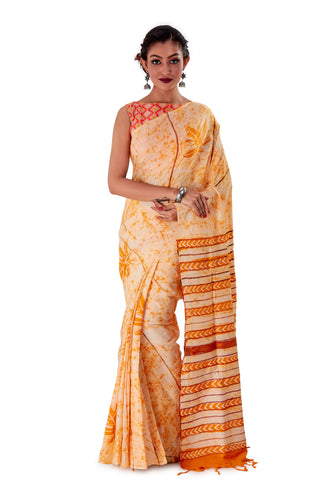 Off-white-base-Batik-Cotton-Designer-Saree-SNHK1502-1