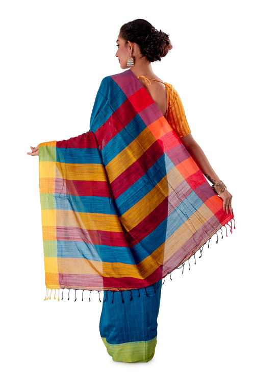 Multi-coloured-Khadi-Cotton-Designer-Saree-SNHK1602-4