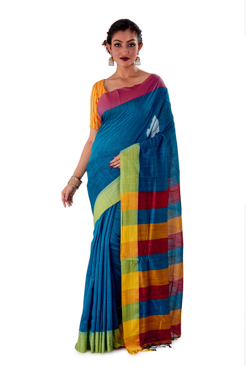 Multi-coloured-Khadi-Cotton-Designer-Saree-SNHK1602-1
