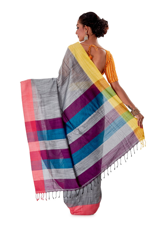 Multi-coloured-Khadi-Cotton-Designer-Saree-SNHK1603-4