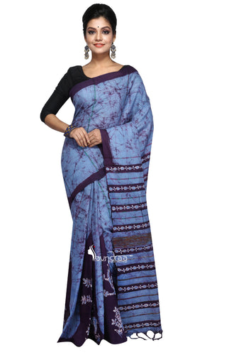 Blue & Black Batik Khesh With Floral Work - Saree
