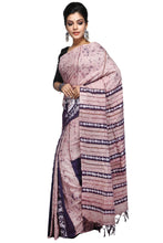 Light Violet Batik Khesh With Floral Work - Saree