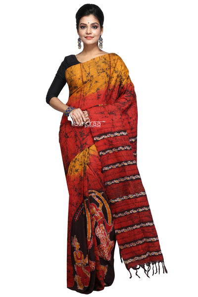 Orange & Yellow Designer Batik Khesh - Saree