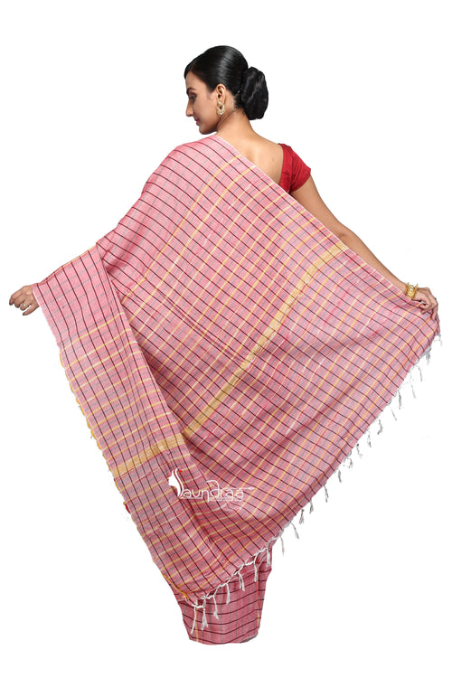 Pink Khesh Handloom Saree With Checks - Saree