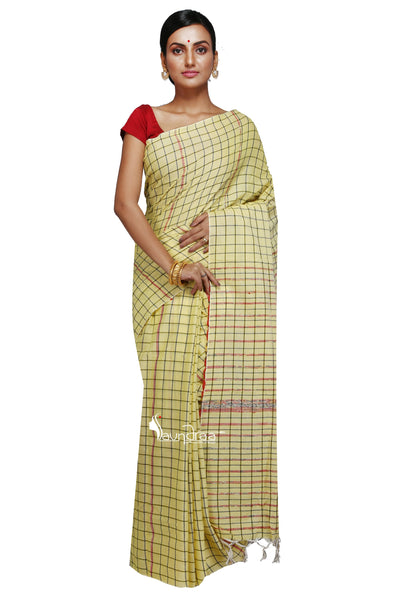 Yellow Khesh Handloom Saree With Checks - Saree