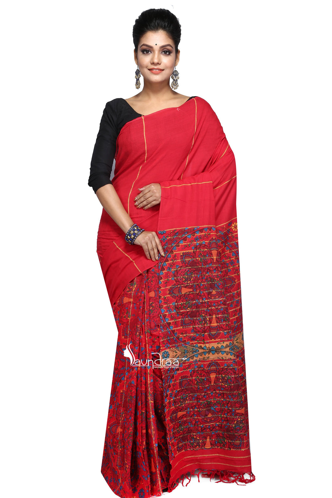 Madhubani Work On Red Cotton Khesh Saree - Saree