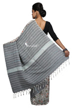 Madhubani Work On White & Grey Cotton Khesh Saree - Saree