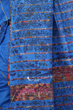 Madhubani Work On Blue Cotton Khesh Saree - Saree
