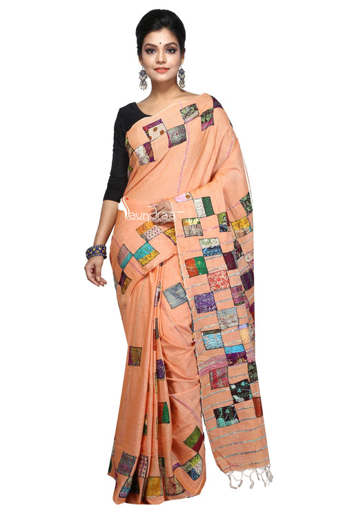Applique Work On Handloom Cotton Khesh: Baul Saree - Saree