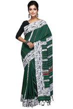 Drawings Applique On Green Khesh - Saree