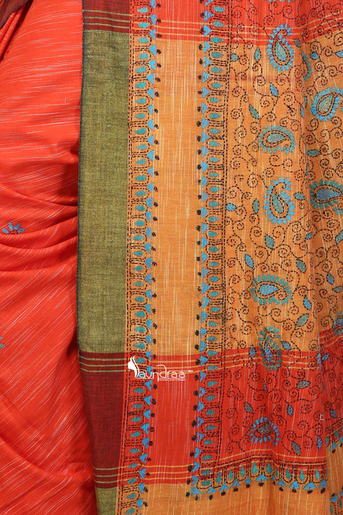 Orange & Yellow - Handloom Soft Cotton Khesh - Jam Kantha - Saree