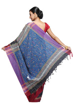 Black & Blue- Handloom Soft Cotton Khesh - Jam Kantha - Saree