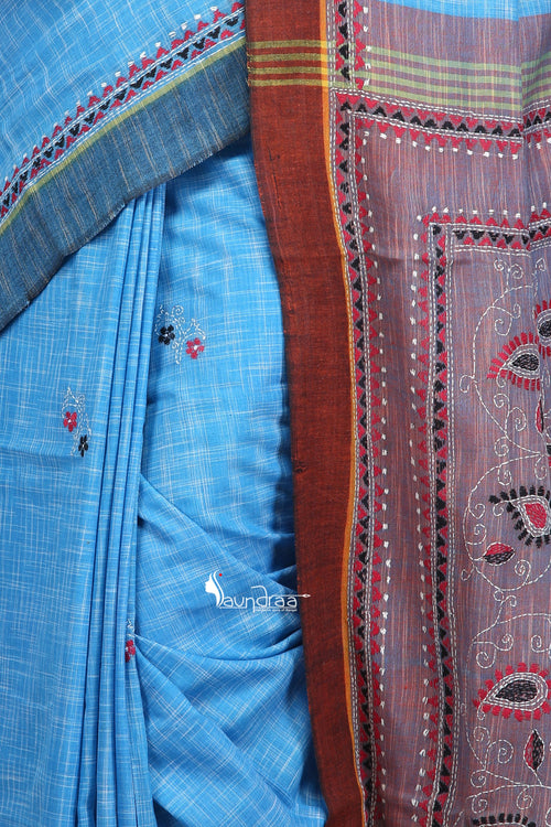 Blue & Violet - Handloom Soft Cotton Khesh - Jam Kantha - Saree
