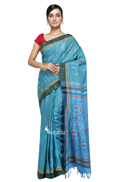 Blue - Handloom Soft Cotton Khesh - Jam Kantha - Saree