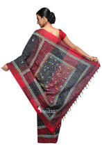 Black & Red- Handloom Soft Cotton Khesh - Jam Kantha - Saree