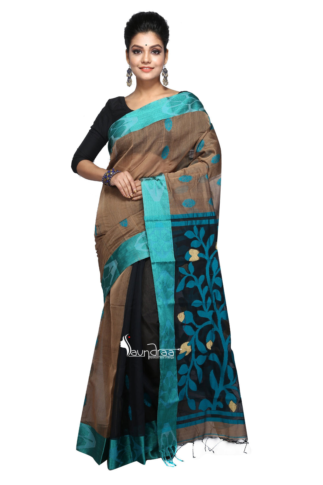 Black & Green Handloom Cotton Saree - Saree