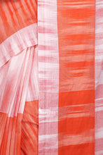 Orange Handloom Cotton Khadi Saree - Saree