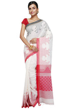 White Handloom Pure Cotton Designer Saree - Saree