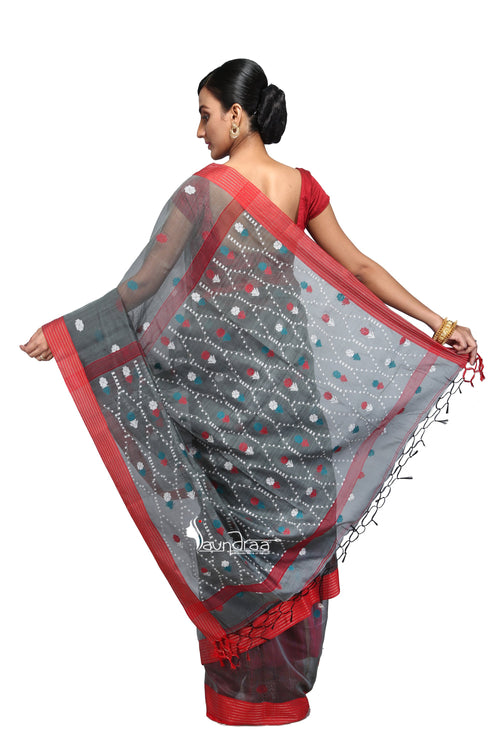 Grey Red Designer Handloom Saree - Saree