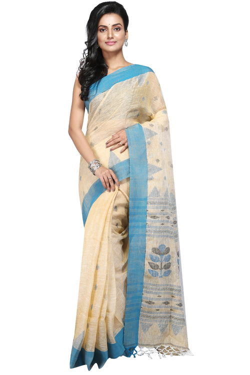 Cream Coloured Handloom Linen Designer Saree - Saree