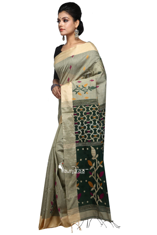 Golden And Green Handloom Designer Saree Saree - Saree