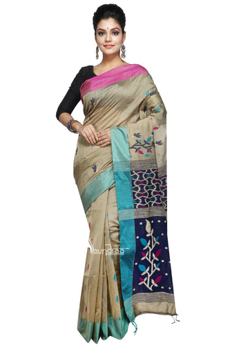 Golden Yellow & Multi-Coloured Mixed-Cotton Saree With Floral Work In Anchal - Saree