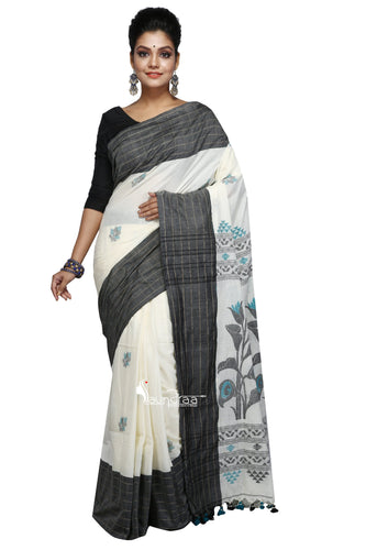 Off-White & Black Cotton Saree With Floral Work In Anchal - Saree