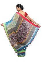 Blue Handloom Linen Block Printed Saree - Saree