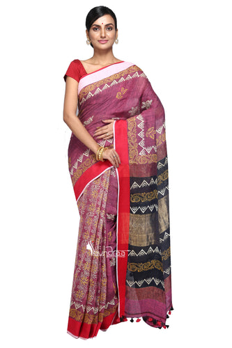 Pink Handloom Linen Block Printed Saree