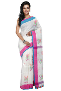 Off-White Handloom Linen Jamdani Saree - Saree
