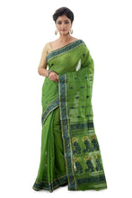 Shamrock Green Handloom Traditional Tangail Saree