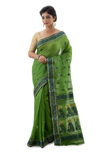 Shamrock Green Handloom Traditional Tangail Saree - Saree