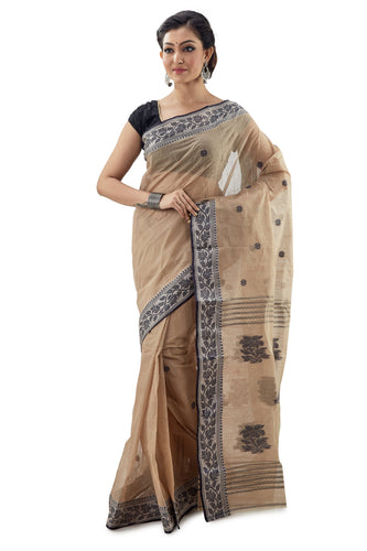 Wheat Colour Handloom Traditional Tangail Tant - Saree