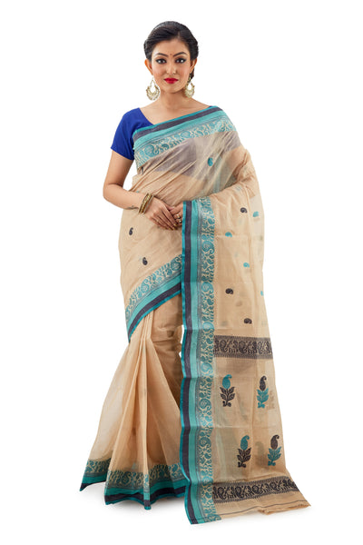 Off-White Handloom Traditional Tangail Tant - Saree