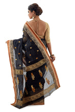 Black Handloom Traditional Tangail Tant - Saree
