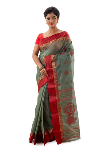 Olive Green Handloom Traditional Tangail Tant - Saree