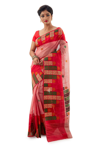 Red Handloom Traditional Tangail Tant - Saree