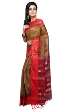 Golden - Red Droplet Designer Handloom Saree - Saree