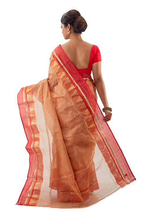 Light Squash Handloom Traditional Tangail Tant - Saree